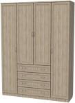 Шкаф для белья со штангами, полками и ящиками